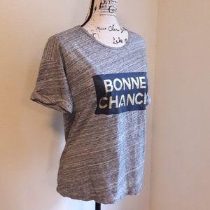 """""""Bonne Chance"""" J-CREW T-shirt size XS gray"""